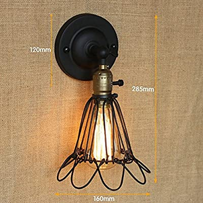 DPG Lighting Vintage Industrial Cage Wall Edsion Light with Switch Adjustable Handle Rustic Loft Lighting Sconce Wall Lamp Fixtures E27 Metal