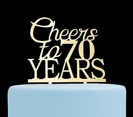 Amazon.com: Cheers a 70 años tarta topper-70th y celebración ...