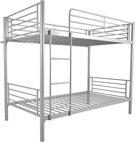 Litera gris con marco de hierro para niños, cama individual con escalera, cama triple para niños y adultos, cama escalera: Amazon.es: Amazon.es