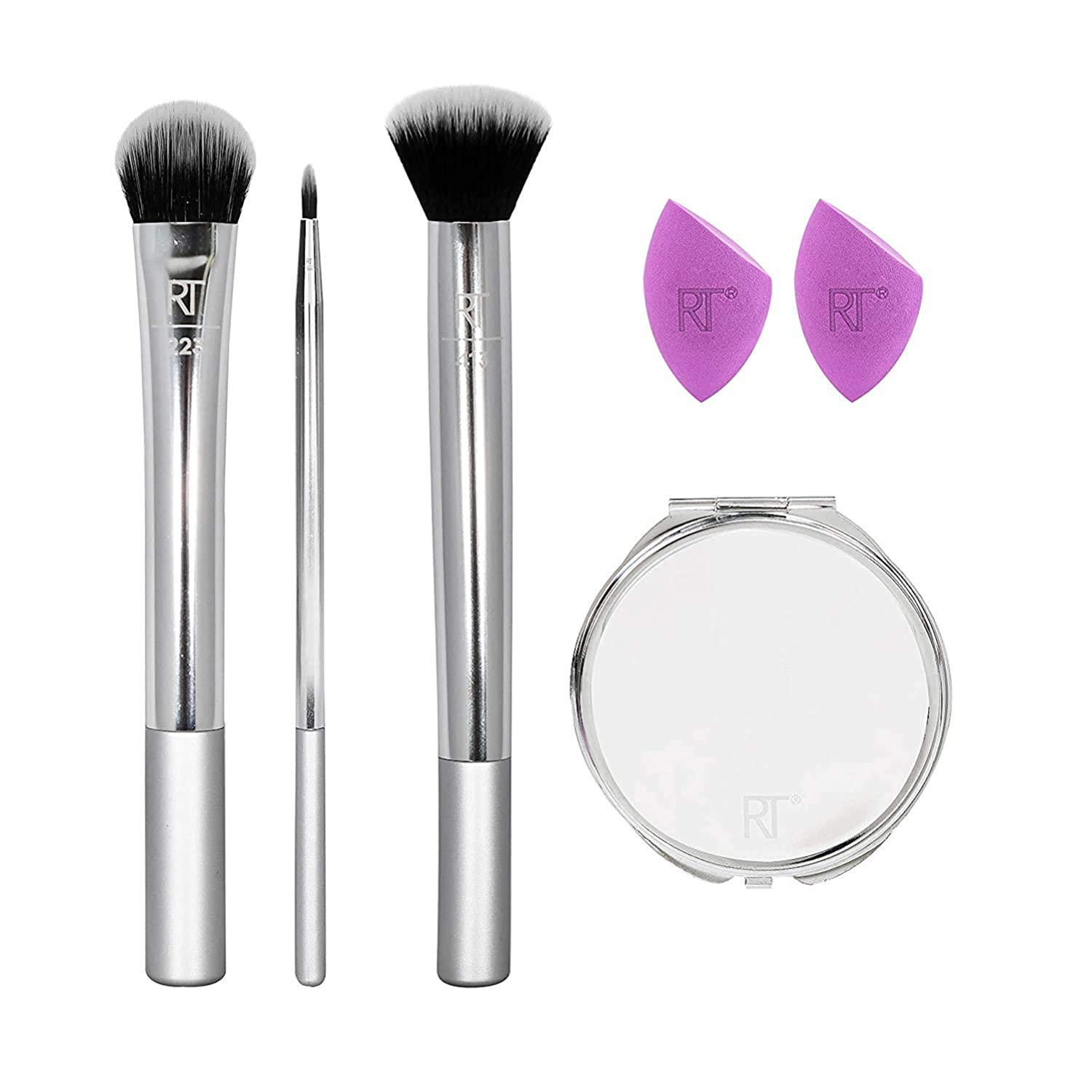 Real Techniques Poppin' Perfection Makeup Brush Set with Makeup Blender Beauty Sponges and Compact Makeup Mirror, Set of 6