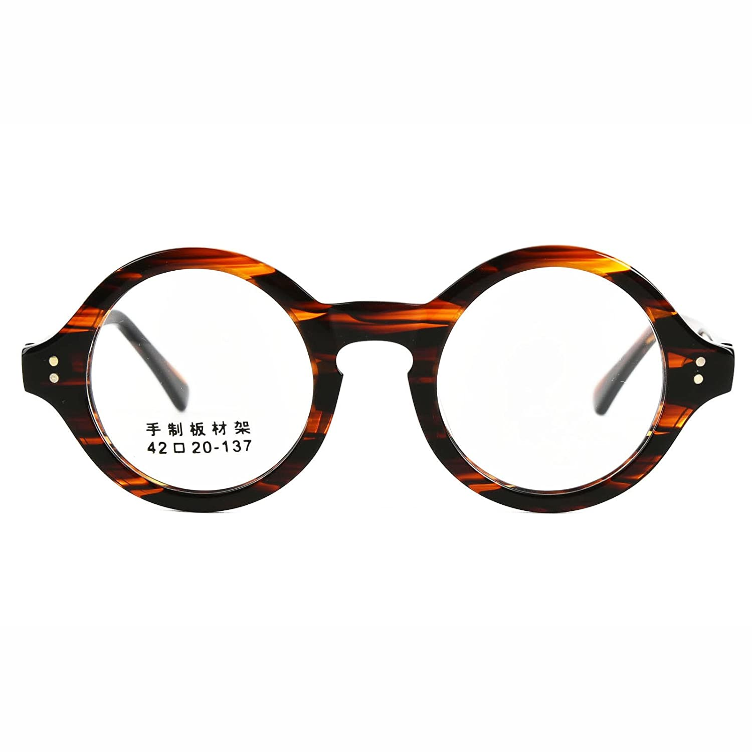 7bd86bee93 Amazon.com  38mm Vintage Small Round HANDMADE Glasses Tortoise Eyeglasses  Frames Rx able 292  Clothing