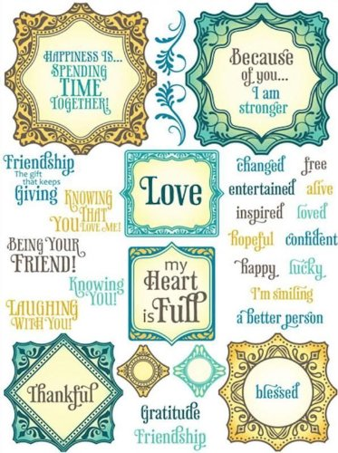 Justrite 38-Piece Papercraft Clear Stamp Set, 6 by 8-Inch, Ornate Happiness Squares (Acrylic Book Album Word)
