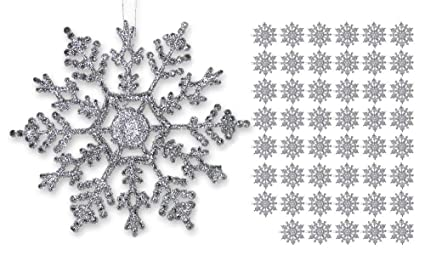 banberry designs silver snowflakes set of 48 glittery snowflake ornaments shatterproof christmas ornaments with - Snowflake Christmas Decorations