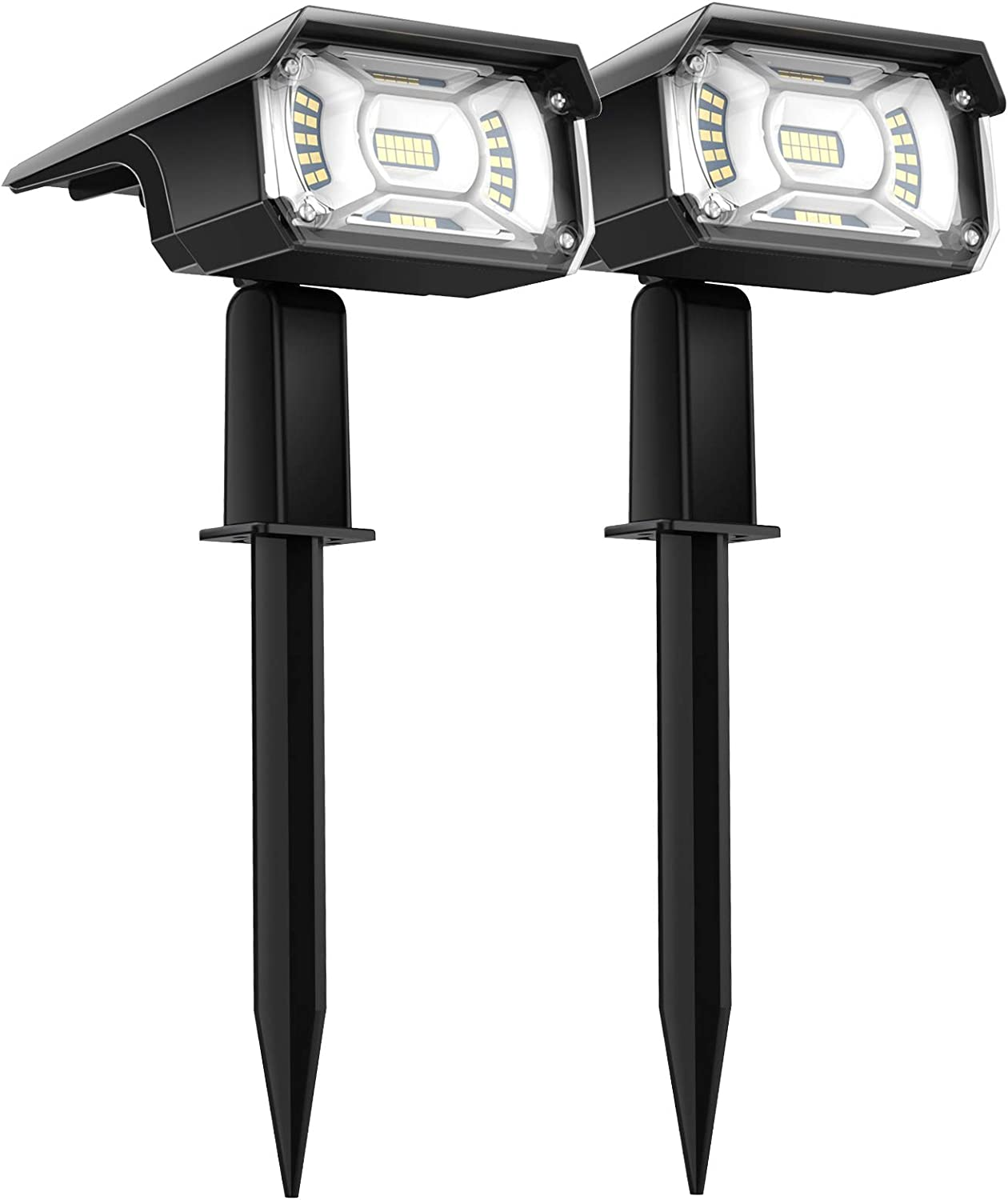 Solar Lights Outdoor, 40 LEDs Outdoor Solar Lights, IP67 Waterproof Solar Spot Lights Outdoor 2-in-1 Wall Light Decorative Lighting Auto On/Off for Patio Deck Yard Garden Driveway 2 Pack (Cold)