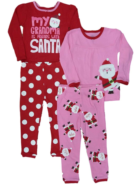 d8b15395e Amazon.com  Carter s Infant Toddler Girls 2 Pack Santa Sleepwear ...