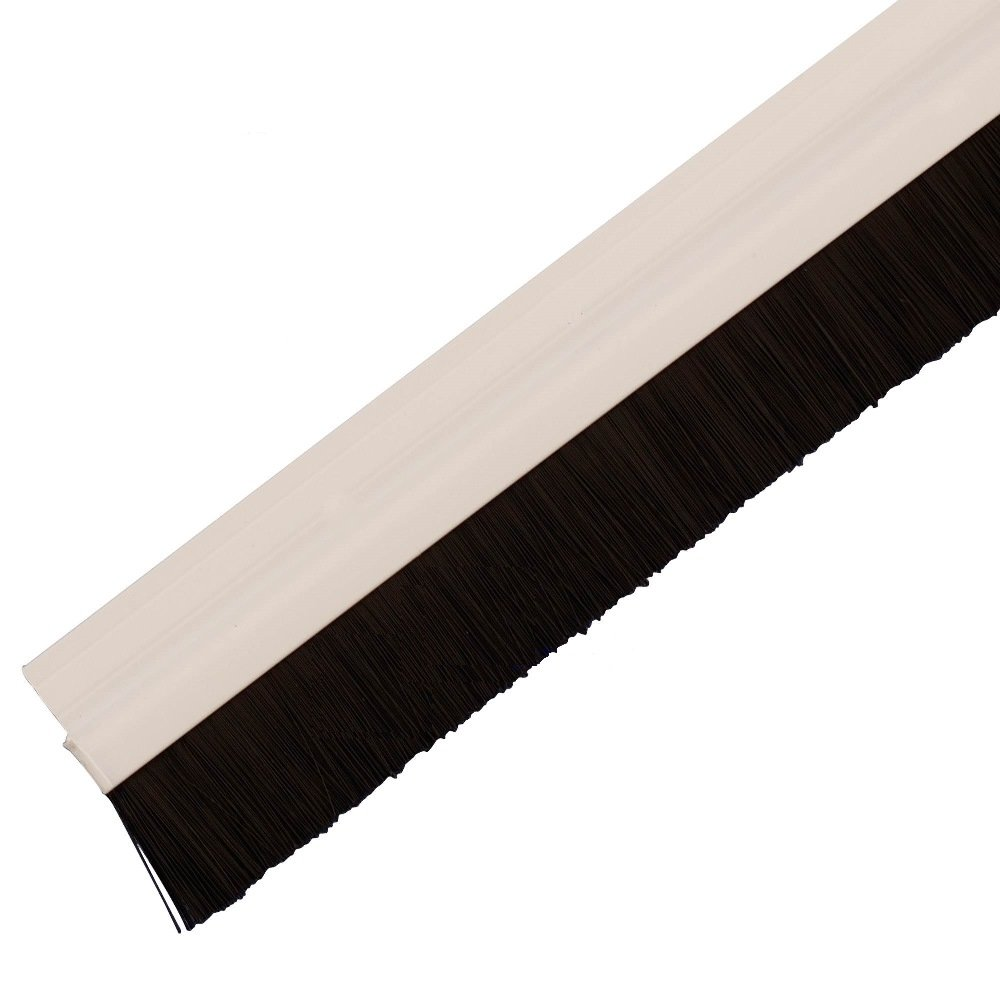 Bulk Hardware BH05778 StormSeal Door Bottom Brush Draught Excluder Strip, Self Adhesive White Plastic, 915mm (36 Inch) Bulk Hardware Limited