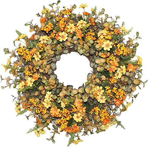 - Forevercute Berry Daisy Silk Fall Wreath for Autumn Season, Front Door Wreath with Vibrant Fall Colors, All Weather Outdoor Wreath That Lasts for Years- Golden Yellow 18 Inches
