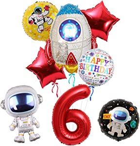 Outer Space Party Supplies, Astronaut Spaceman 6th Birthday Balloon Bouquet Decorations,Baby Shower, Home Office Decor, Birthday Backdrop