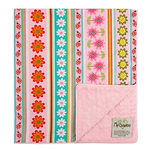 My Blankee Daisy Stripes Organic  Cotton Pink w/ Minky Dot Pink Baby Blanket, 30