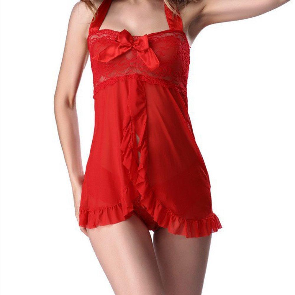 LANSKIRT Mujeres Encaje Dama Lencería Babydoll Vestido Ropa de Dormir Ropa Interior Ropa de Noche Tanga Tirantes Falda del sueño: Amazon.es: Hogar