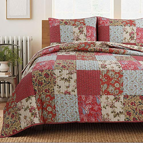 Cozy Line Home Fashions Adeline Red Teal Khaki Floral Pint Pattern Real Patchwork 100% Cotton Reversible Coverlet Bedspread Quilt Bedding Set for Women(Red Aqua, King - 3 Piece)