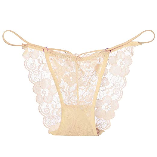 9b9847a1bf1 Feccile Women's Lace Lingerie Knickers G-String Thongs Panties Underwear  Briefs (Beige) at Amazon Women's Clothing store: