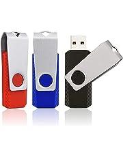 KEXIN 16GB Memoria USB 2.0 Pendrive 16GB Flash Drive Memory Stick para Computadoras, Tabletas y Otros Dispositivos [3 Unidades ] Color de Rojo,Azul, Negro