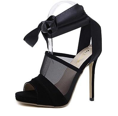 091f770d3f852 LINYI Stiletto Heels Sandals Black Womens Summer Platform Hollow ...