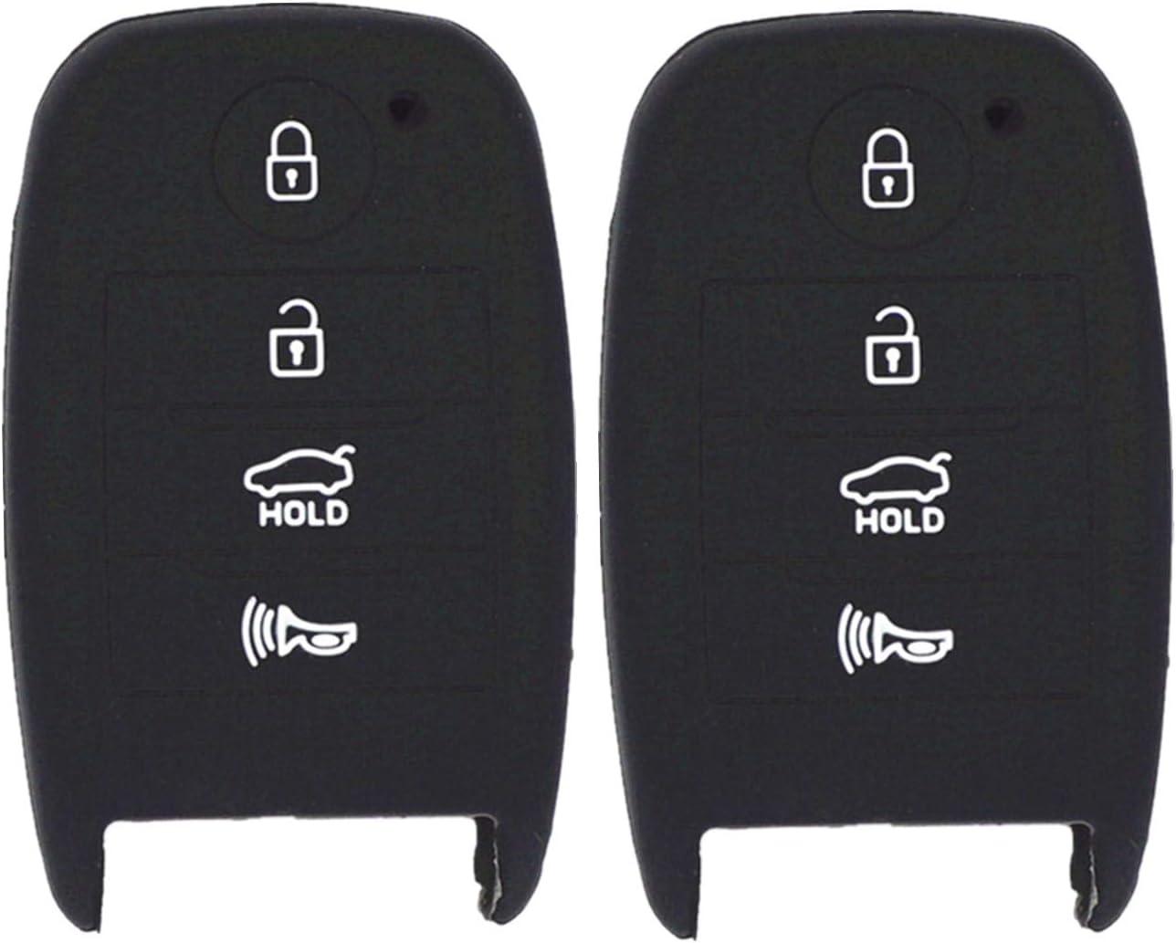 WFMJ 2Pcs Black Silicone for Hyundai Elantra Sonata Tucson i40 ix35 Smart Remote 4 Buttons Key Chain Cover Case