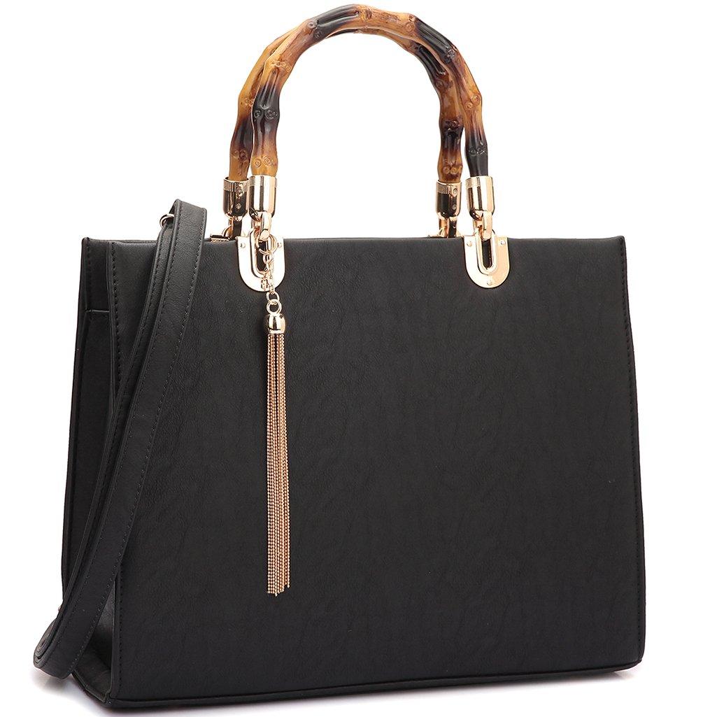 MKP Collection Bamboo Handle Smooth Leather Medium Satchel~Beautiful Woman Handbag~Multi Color Choose~Fashion Shoulder handbag~Classic Bag(2575) Black