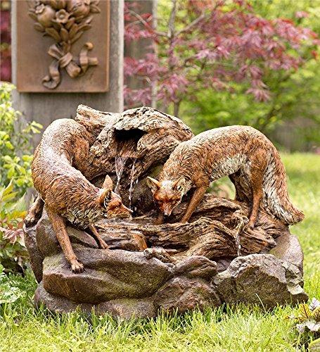 Lighted Foxes Fountain Outdoor Garden Water Element 32¾ L x 19 W x 23¼ - Fountain Garden Element