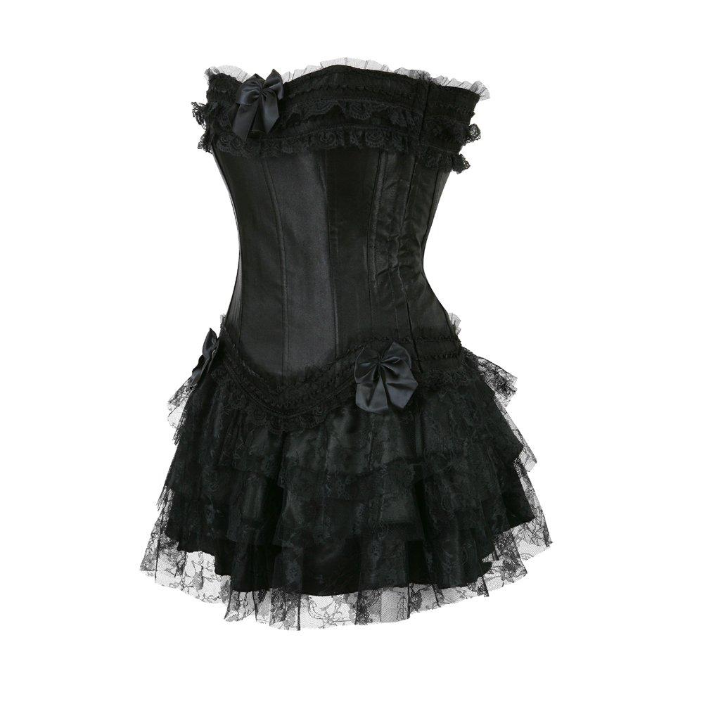 4847bcc1c482d Grebrafan Womens Fashion Satin Overbust Waist Cincher Boned Corset with  Tutu Skirt Dress  Amazon.co.uk  Clothing