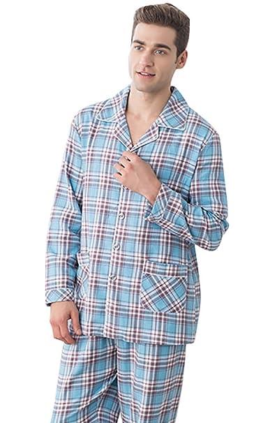 LvRao Pijamas de Algodón Suave para Marido y Mujer Pijamas con Tartán Ropa de Noche para