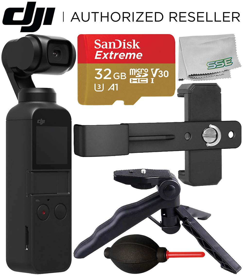DJI Osmo Pocket Gimbal with Essential Phone Holder Accessory Bundle - Includes: SanDisk Extreme 32GB microSDHC Memory Card + Phone Holder Bracket + Pistol Grip/Tabletop Tripod + Dust Blower + More