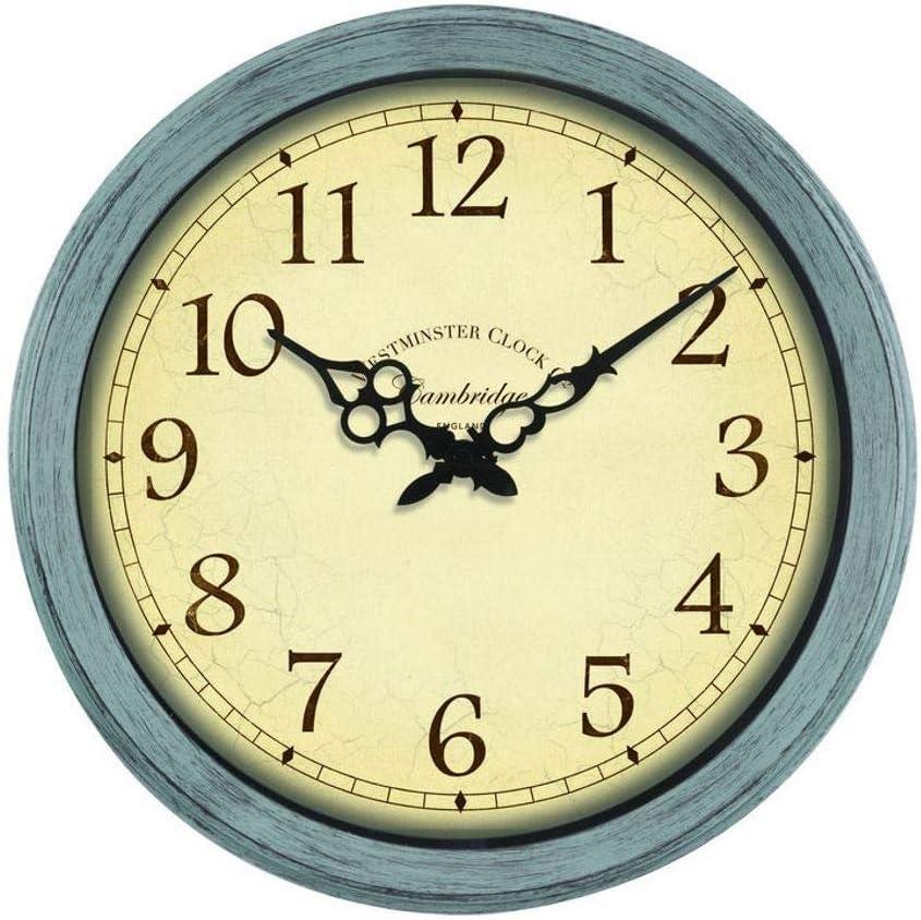 """Cambridge Indoor Outdoor Garden Clock 14""""   Weatherproof UV Resistant Westminster Style Clock Duck Egg Blue"""