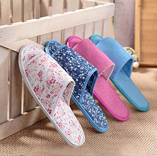 Pairs Salon Non Disposable Slippers Hotel 10 Travel Home Blue slip F6gqpcq