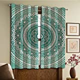 Custom design curtains/Vintage Lace Window Curtain/Grommet Top Blackout Curtains/Thermal Insulated Curtain For Bedroom And Kitchen-Set of 2 Panels(ttern Boho Style Floral Dots and Stripes with Peta)