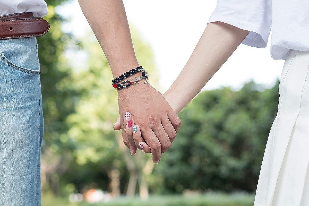 0d7afa6e019789 Bracciale Ancorare Acciaio Speranza Amore bracciali Uomo Donne braccialetto  marino Marinaio braccialetti Navigazione Rosso e Blu Corda intrecciato  corda ...
