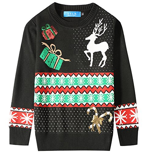 hot SSLR Big Boys' Crewneck Snowflake Pullover Ugly Christmas Sweater for cheap