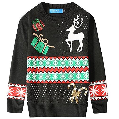 SSLR Big Boys' Crewneck Snowflake Pullover Ugly Christmas Sweater (Small (8), Black)