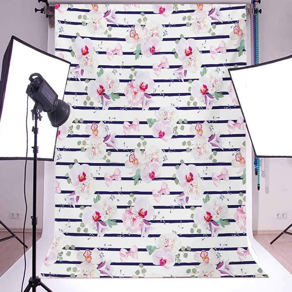 Purple and B 10x15 FT Photo Backdrops,Spring Bouquets Stripes Orchid Peony Bell Flowers Feminine Background for Kid Baby Boy Girl Artistic Portrait Photo Shoot Studio Props Video Drape Vinyl