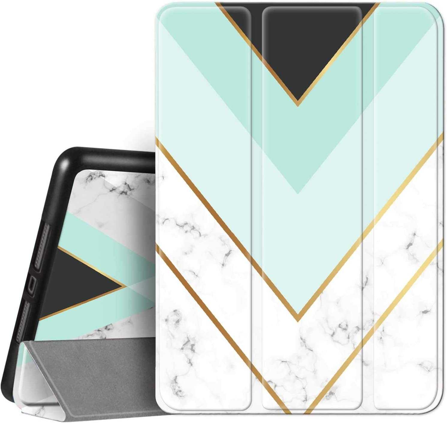 Hi Space iPad Case White Marble for iPad 10.2 8th / 7th Generation & 10.5 Air 3 & iPad Pro 10.5 with Stylus Holder, Green Geometry Trifold Stand Protective Smart Cover Shockproof Case Auto Sleep Wake