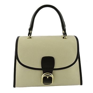 Köfferchen Tasche Aus Echtem Leder Für Damen Farbe Beige