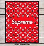 Supreme LV Logo Art Print - Wall Art Poster - Chic Home Decor for Dorm, Office, Living Room, Bedroom, Boys or Teens Room, Dorm - Gift for Men, Louis Vuitton, Designer Fashion Fans - 8x10 Unframed