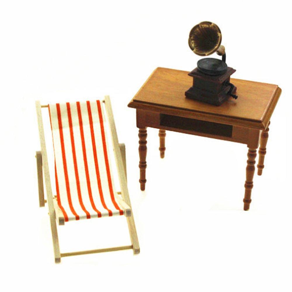 Runfon Miniature Chaise de Plage en Bois Chaise Plaible pour 1//12 Maison de Poup/ée Moblier de Maison de poup/ée en Bois Couleur al/éatoire