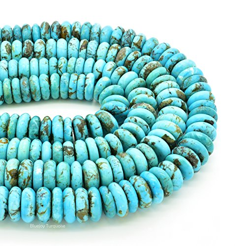Bluejoy Genuine Natural American Turquoise 15mm Button Bead 16 inch Strand for Jewelry Making
