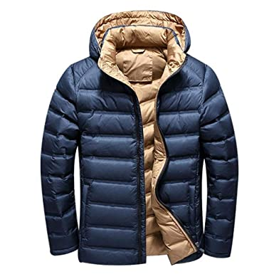 MAZF Winter Down Jacket Short Parkas Hombre Invierno Chaqueta Plumas Hombre Feather Jacket Blue M