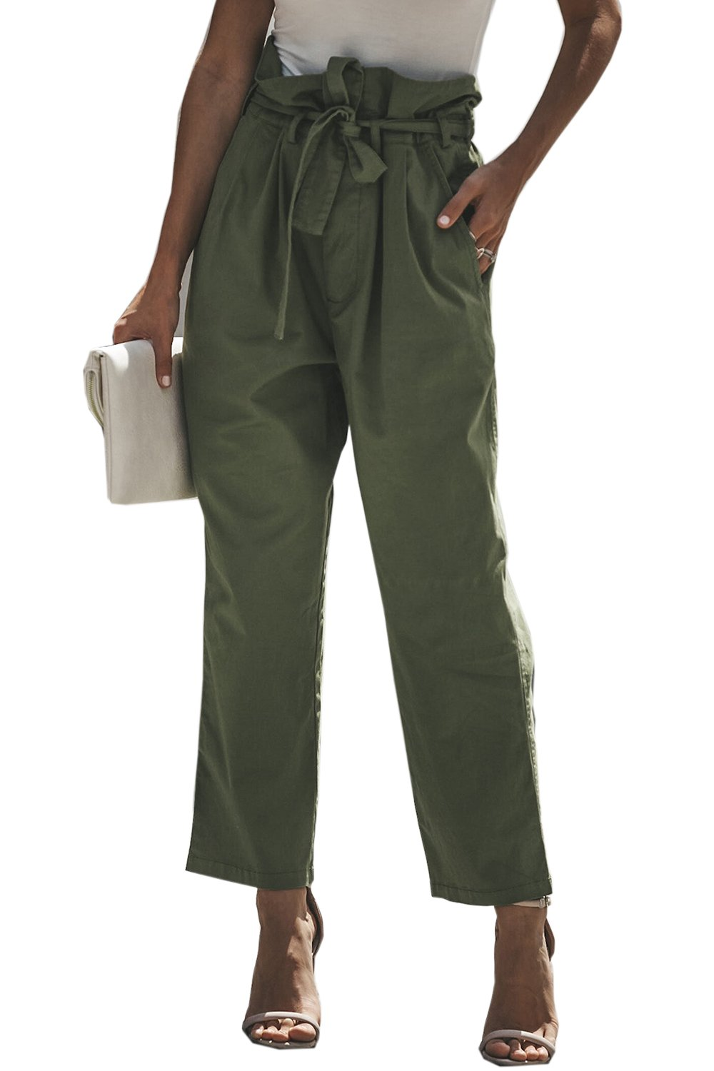 Meilidress Womens Slim Work Pants High Waisted Tie Front Straight LegTrousers with Pockets