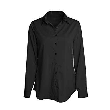 SUNNOW Women Fasional Slim Shirt V Neck Long Sleeve Button-down ...