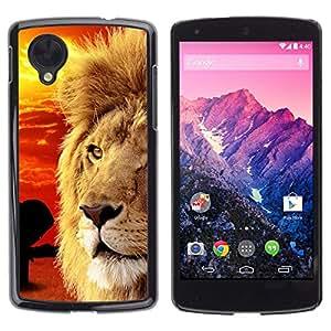 [Neutron-Star] Snap-on Series Teléfono Carcasa Funda Case Caso para LG Nexus 5 D820 D821 [Mane africana Savannah Red Sunset León]