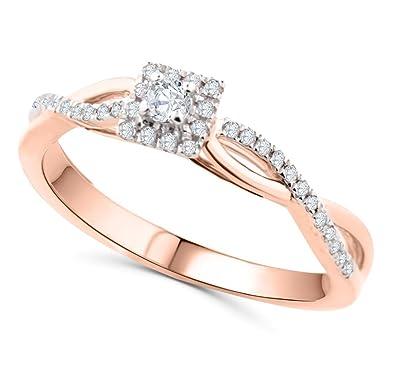 Amazon.com: 10 K oro rosa anillo de diamante anillo de ...