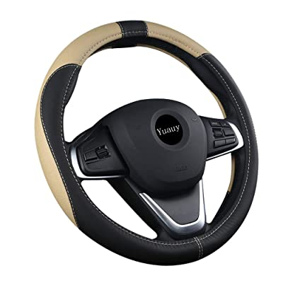 Yuauy 15inch Auto Car Steering Wheel Cover Microfiber Leather Breathable Anti-Slip Universal Steering Wheel Cover (Black&Beige): Automotive
