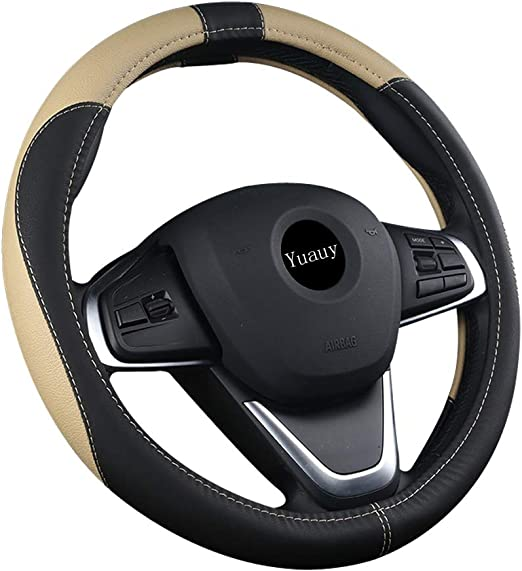 Red Yuauy Breathable Microfiber Leather Steering Wheel Covers Anti-Slip Steering Wheel Cover for Universal Car