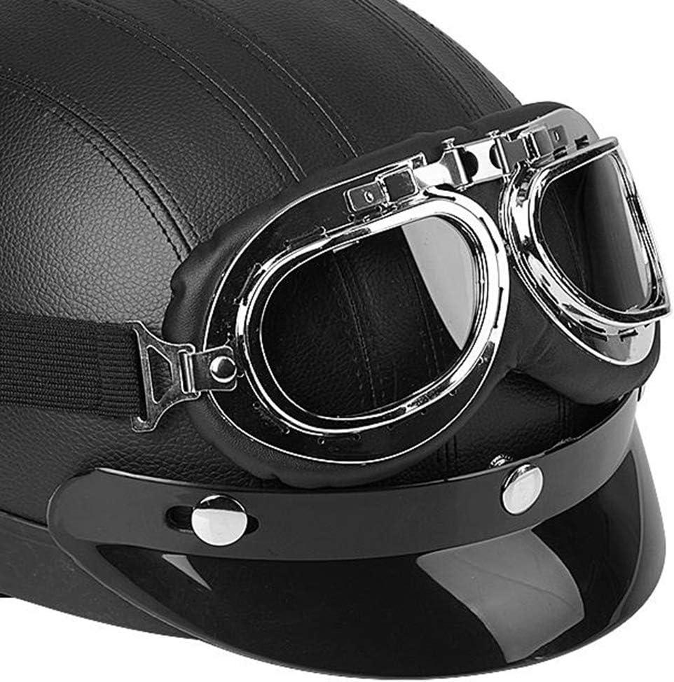 Zerone Roller-Helm,Universal-Motorrad-Roller aus Kunstleder mit offenem Gesicht halber Helm und Visier UV-Brille Schwarz