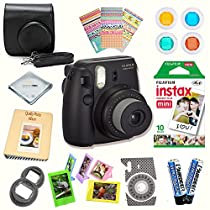 Fujifilm Instax Mini 8 (Black) Deluxe kit bundle Includes -Instant camera with Instax mini 8 instant films (10 pack) - Custom Camera Case - instax Album - Frames - Stickers - Close up lens + MORE …