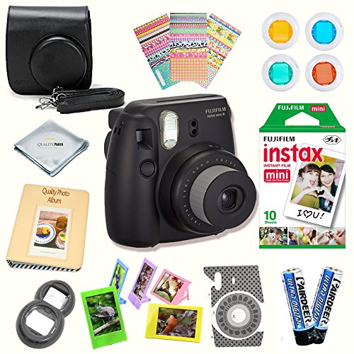 Fujifilm Instax Mini 8 Camera + Fuji INSTAX Instant Film (10 SHEETS) + 14 PC Instax Accessories kit Bundle, Includes; Instax Case + Album + Frames & Stickers + Lens Filters + MORE (Black)