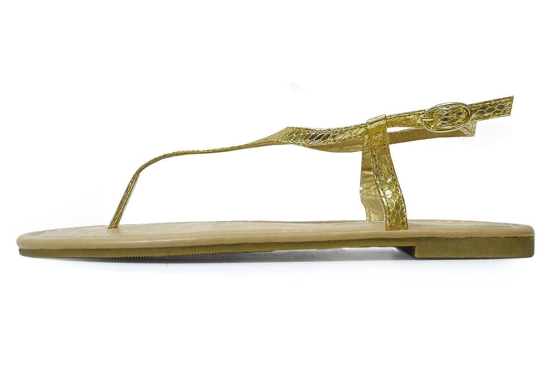9856218031ab5 H2K 'Classic' Women's Fashion [Snake Skin Pattern] Flat Sandals [Thong  Sandals] Flip-Flops w/Ankle Strap