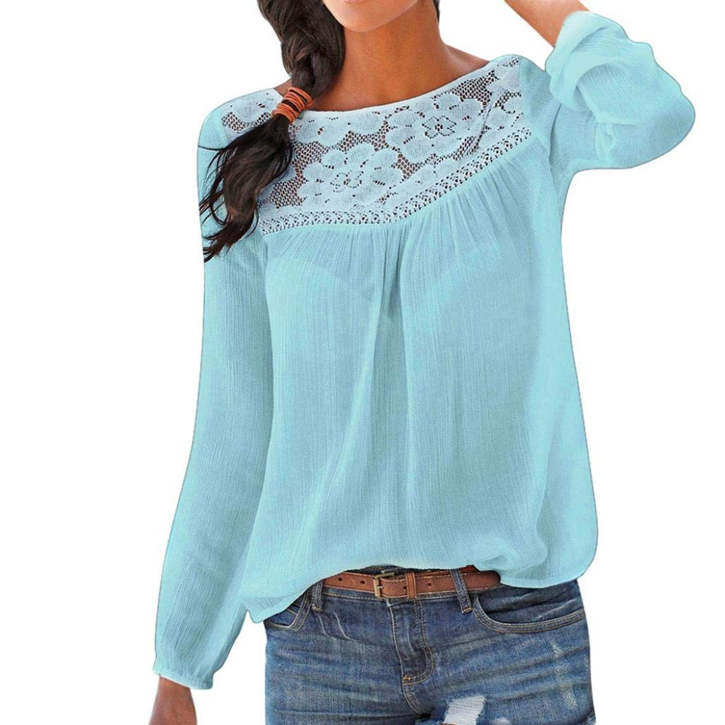 d5b4cc4feb JiaMeng Moda Blusas de Manga Larga para Mujer Blusa de Encaje Casual Tops  Camiseta  Amazon