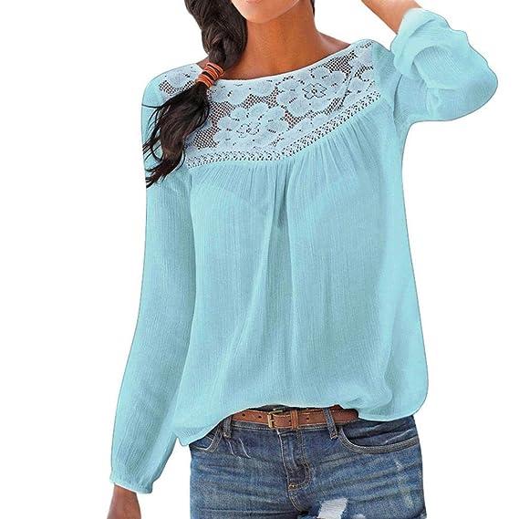 JiaMeng Moda Blusas de Manga Larga para Mujer Blusa de Encaje Casual Tops Camiseta (Azul
