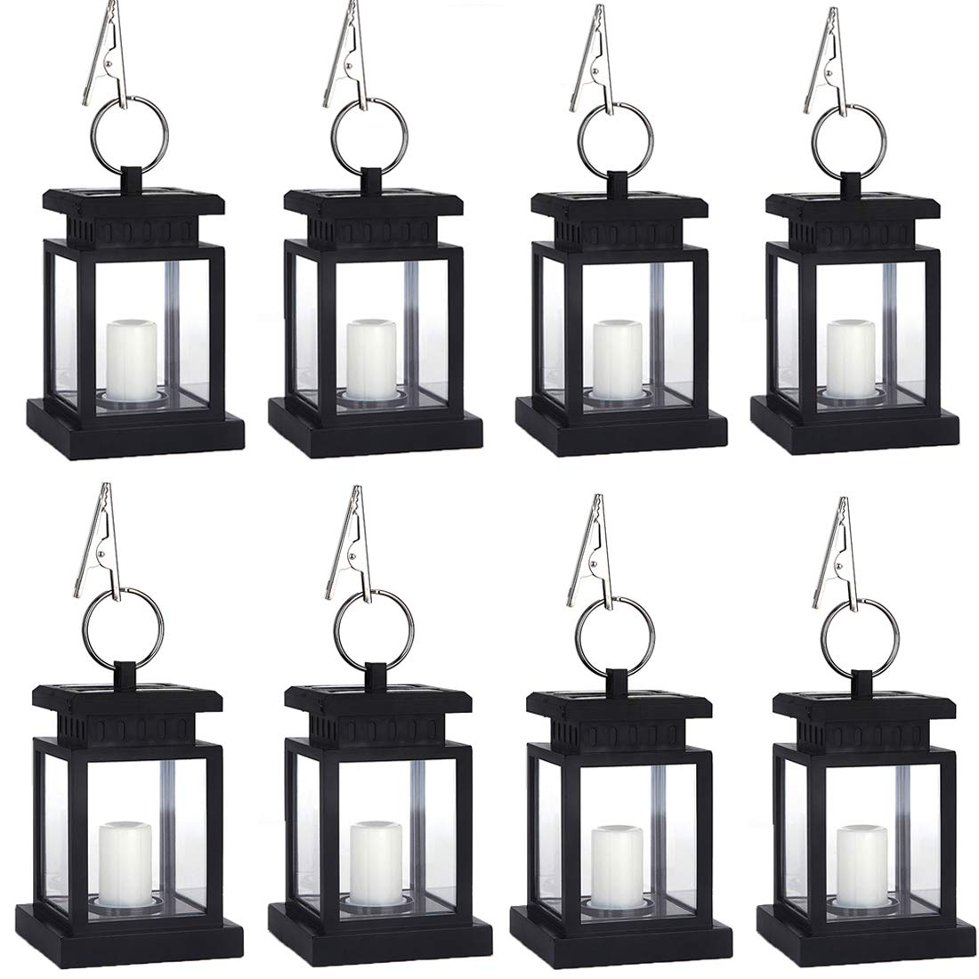 8 Pack Solar Lights Outdoor Hanging Lantern, Solar LED Candle Light for Garden Decor Pathway Yard Fence, Warm White
